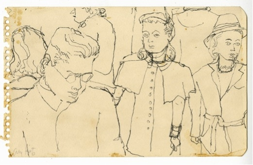 Alex Katz, Crowd on Subway, c.1940s, Pen, 12.4 x 20cm, (1187).jpg